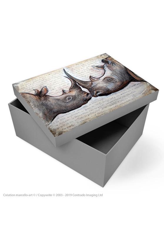 Marcello-art: Decoration accessoiries Souvenir box 106 rhino kiss
