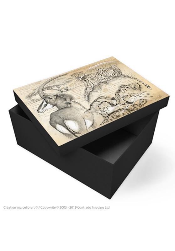 Marcello-art : Accessoires de décoration Boîte à souvenirs 363 guépards antilope sable