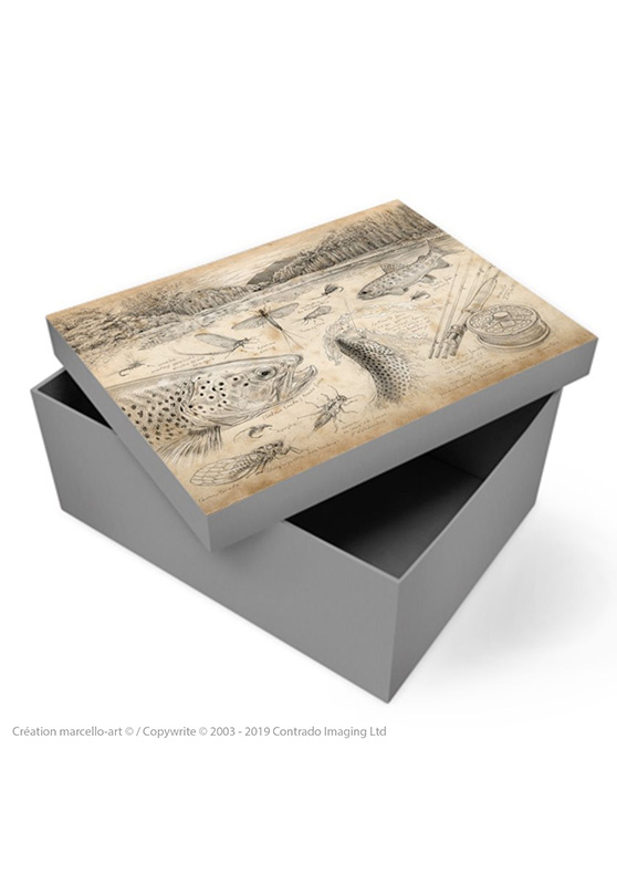 Marcello-art: Decoration accessoiries Souvenir box 374 flyfishing NZ