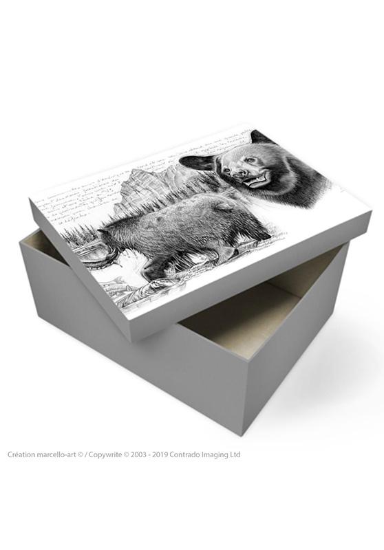 Marcello-art : Accessoires de décoration Boîte à souvenirs 382 ours noir