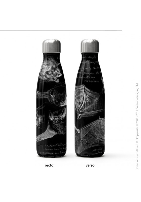 Marcello-art : Accessoires de décoration Bouteille isotherme 31 pipistrelles blanches