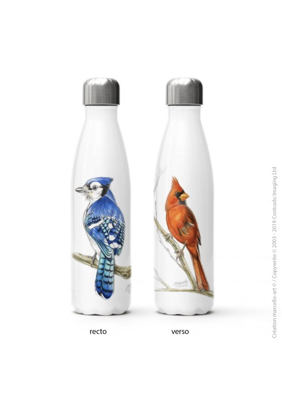 Marcello-art: Decoration accessoiries Isothermal bottle 393 blue jay & cardinal