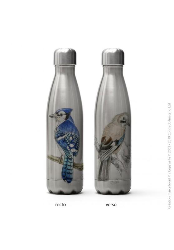 Marcello-art : Accessoires de décoration Bouteille isotherme inox 273-393 geai bleu & geai des chênes