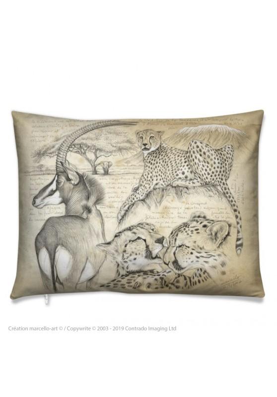 Marcello-art : Accessoires de mode Coussin 363 guépards antilope sable