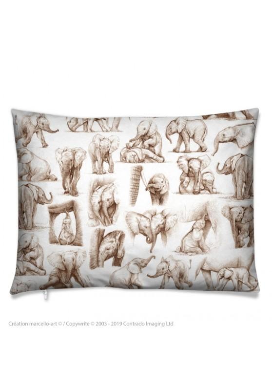 Marcello-art : Accessoires de mode Coussin 392 patchwork éléphanteaux sépia