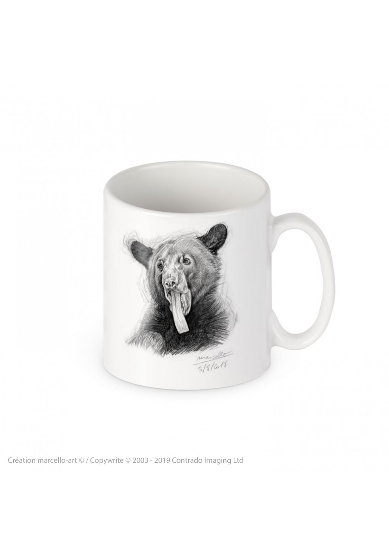 Marcello-art : Accessoires de décoration Mug porcelaine 382 langue ours noir
