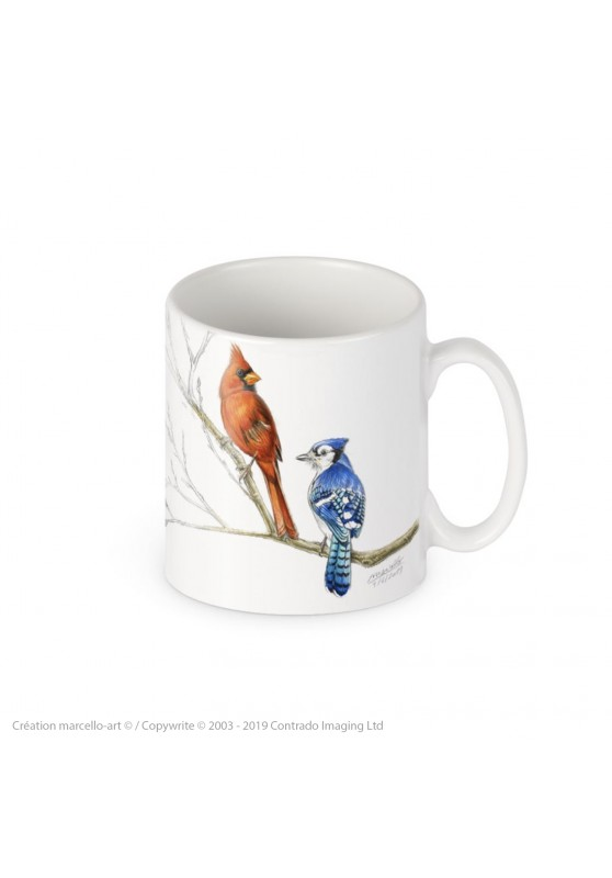 Marcello-art: Decoration accessoiries Porcelain mug 393 blue jay & cardinal