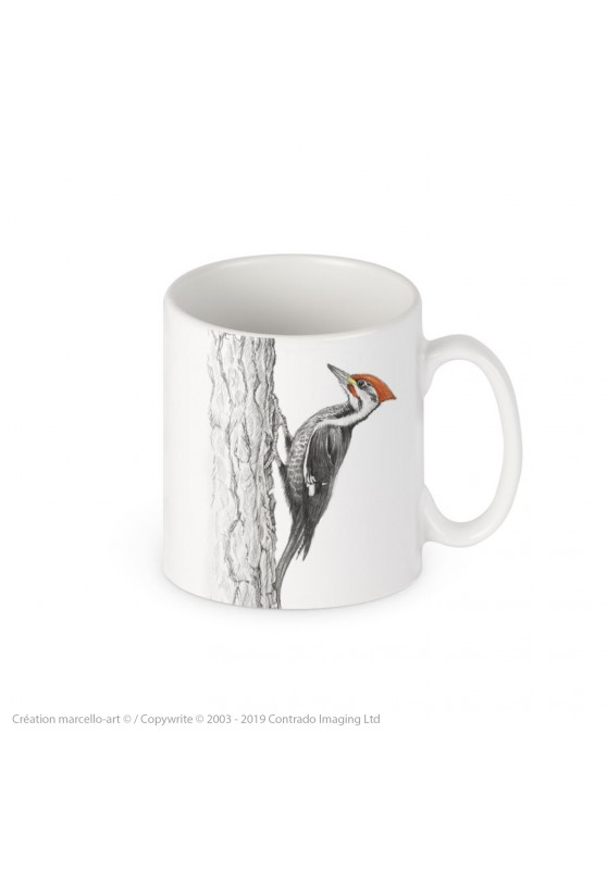 Marcello-art : Accessoires de décoration Mug porcelaine 393 black woodpecker