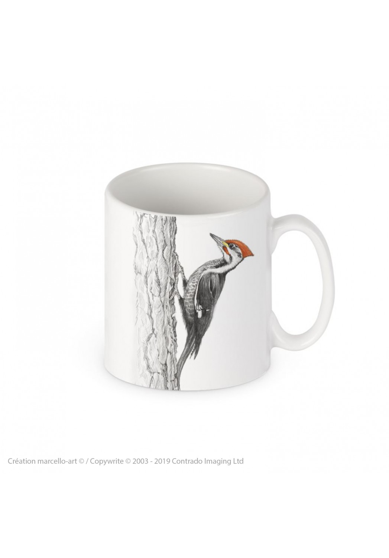 Marcello-art : Accessoires de décoration Mug porcelaine 393 black woodpecker