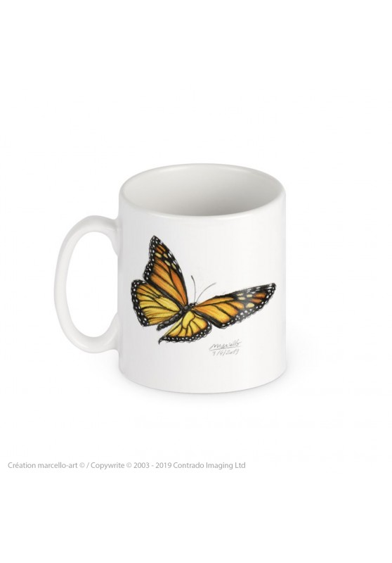 Marcello-art: Decoration accessoiries Porcelain mug 393 monarch butterfly