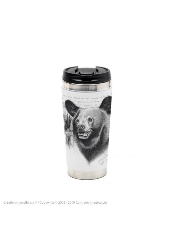 Marcello-art: Decoration accessoiries Thermos mug 382 black bear head
