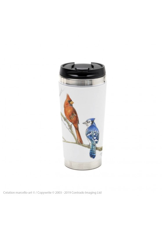 Marcello-art: Decoration accessoiries Thermos mug 393 blue jay & cardinal