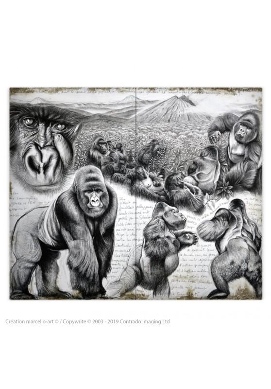 Marcello-art : Accessoires de mode Housse de couette 301 gorilles Virunga