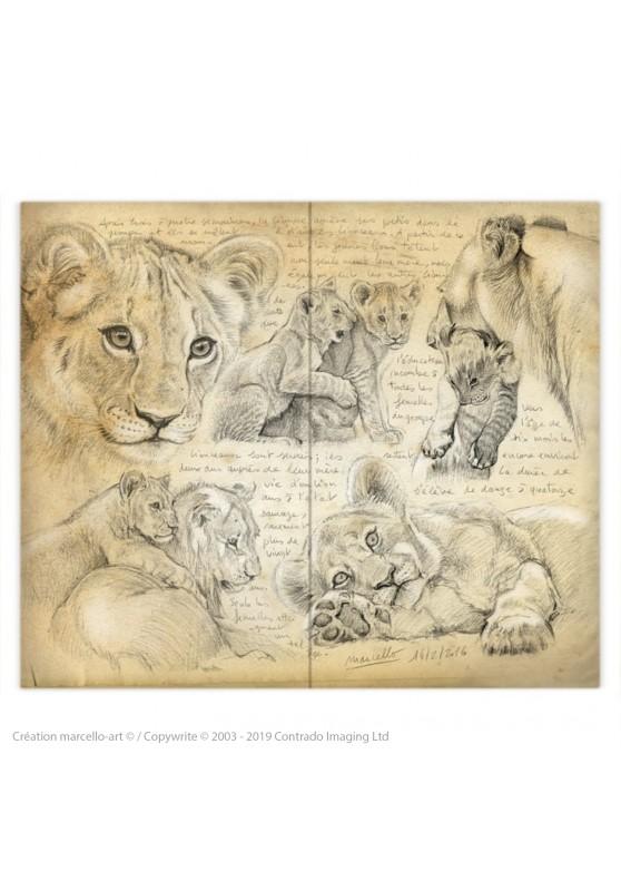 Marcello-art: Fashion accessory Duvet cover 330 lion cubs