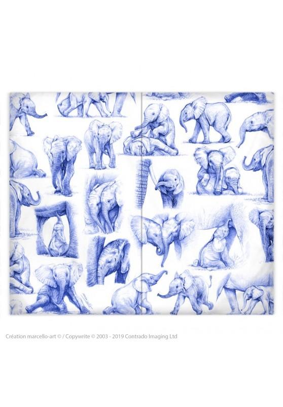 Marcello-art : Accessoires de mode Housse de couette 392 patchwork éléphanteaux Bic