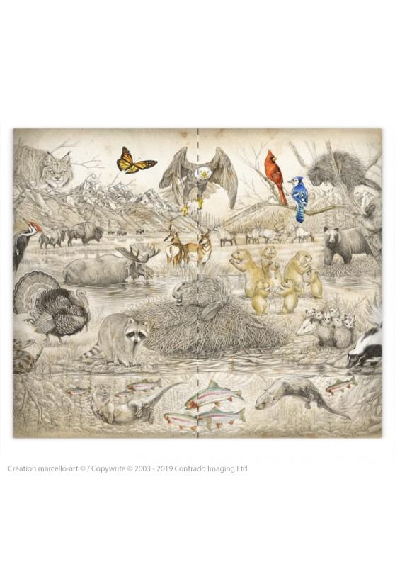 Marcello-art: Fashion accessory copy of Duvet cover 392 elephant patchwork sépia