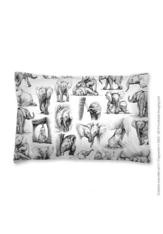 Marcello-art: Fashion accessory Pillowcase 392 B elephant patchwork noir