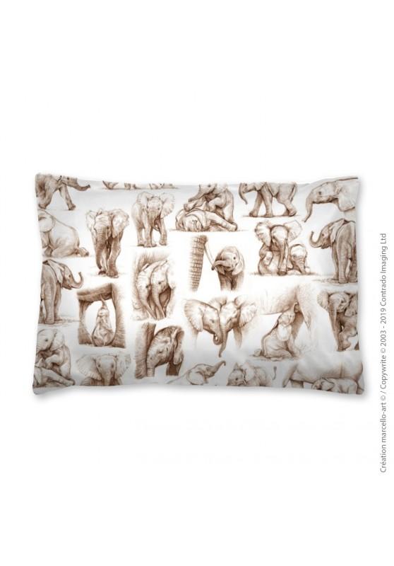Marcello-art: Fashion accessory Pillowcase 392 C elephant patchwork sépia