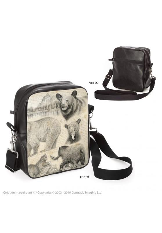 Marcello-art : Accessoires de mode Sacoche 382 ours noir