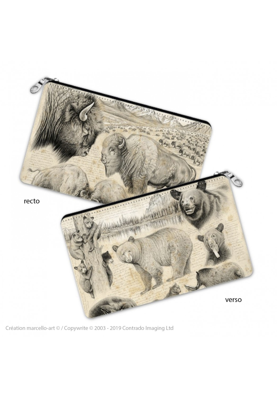 Marcello-art: Decoration accessoiries Pencil case 382-390 American buffalo & black bear