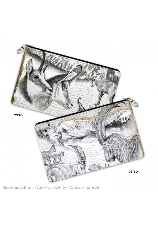 Marcello-art : Accessoires de décoration Trousse à crayons 348-349 chamois et bouquetin