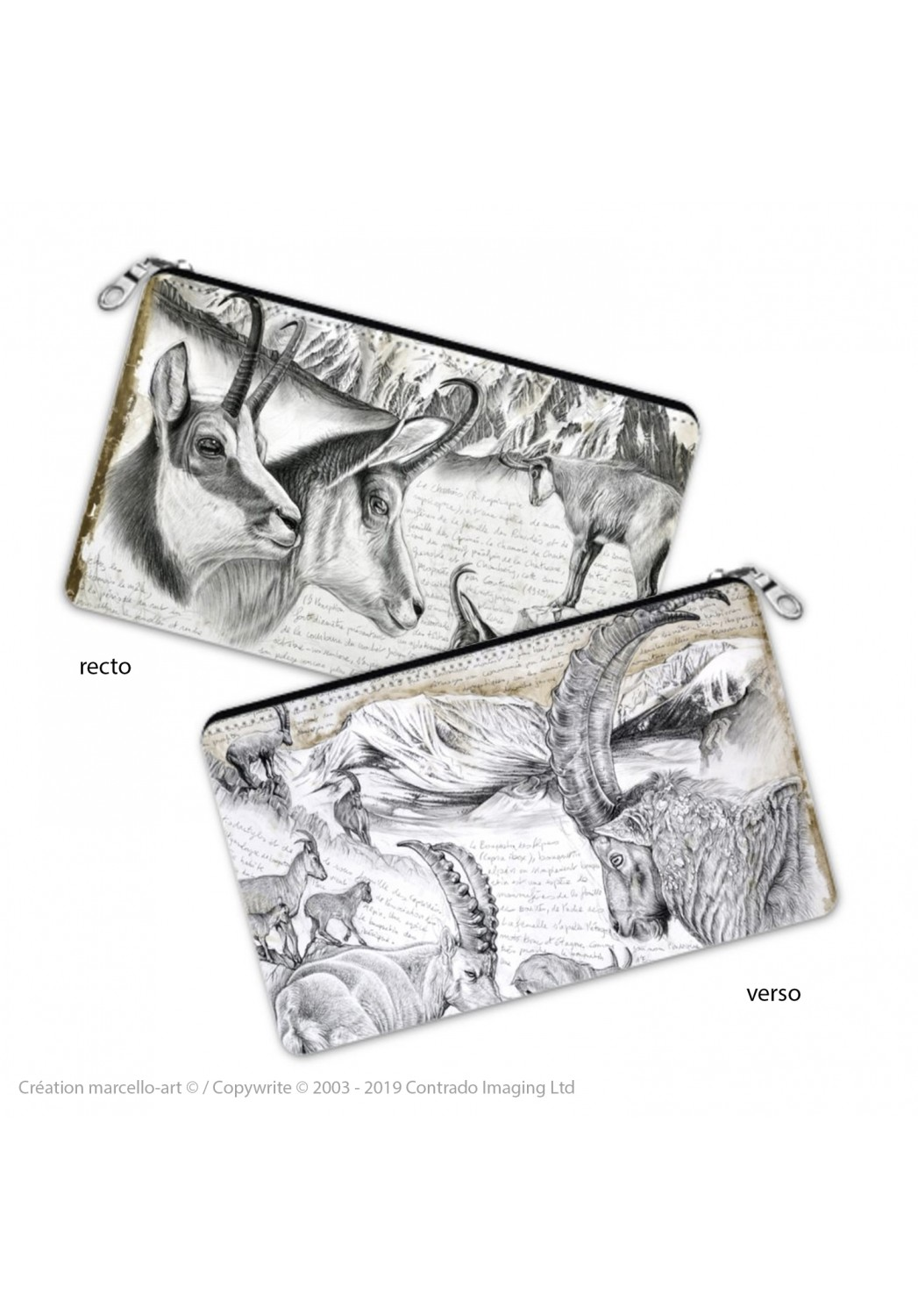 Marcello-art: Decoration accessoiries Pencil case 348-349 chamois & Alpine Ibex