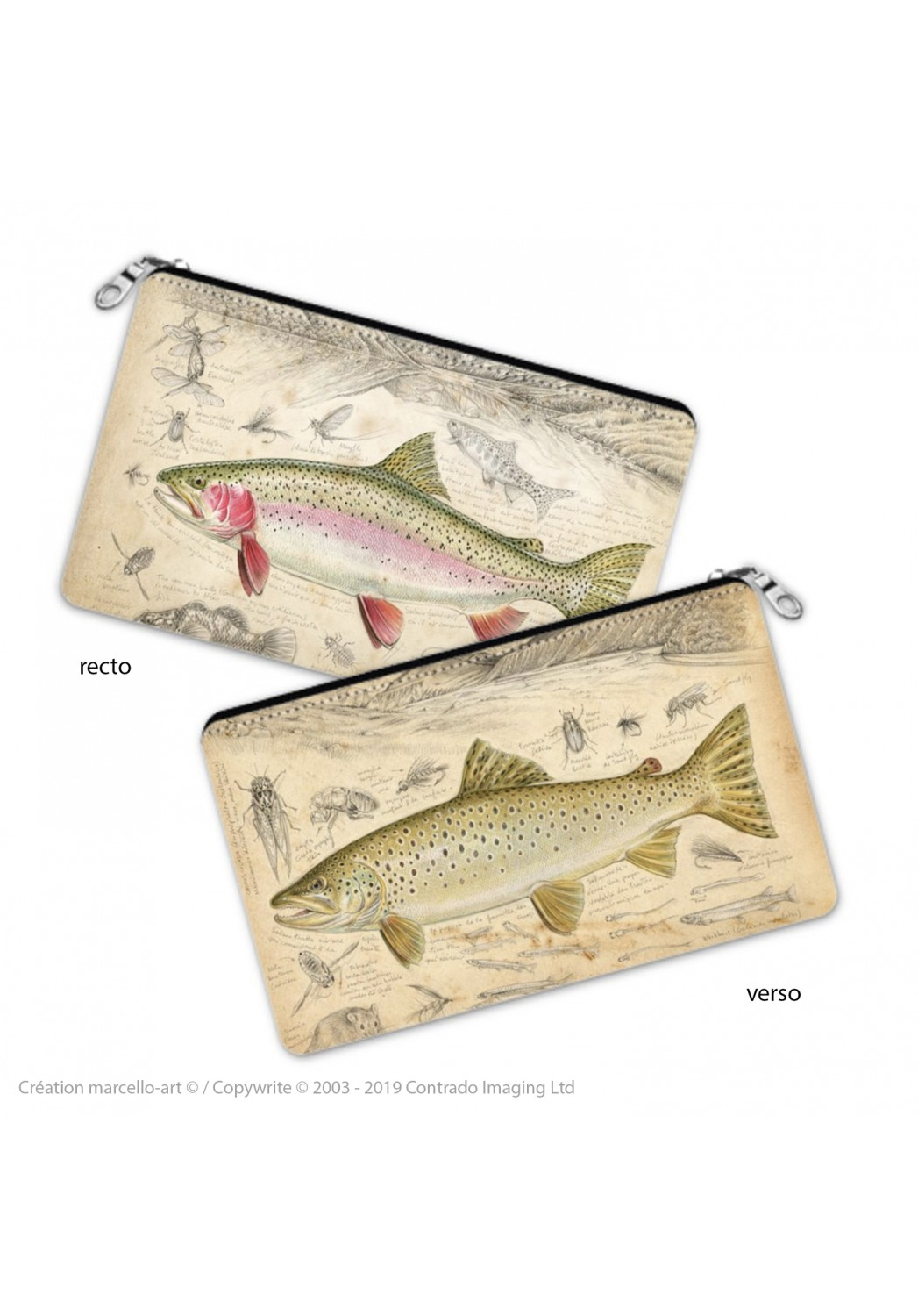 Marcello-art: Decoration accessoiries Pencil case 372-373 brown trout & rainbow trout