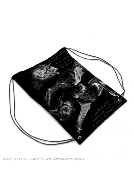 Marcello-art: Fashion accessory Sports bag 31 pipistrelles black