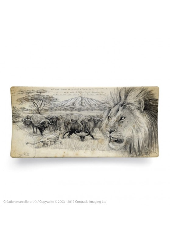 Marcello-art: Rectangular plates Rectangular plate 275 lion engraving