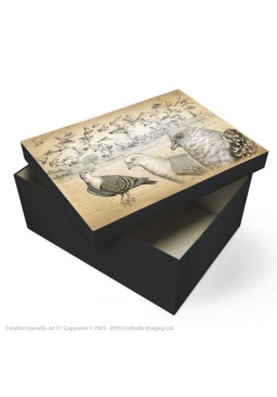 Marcello-art : Accessoires de décoration Boîte à souvenirs 232 Pigeon tigré