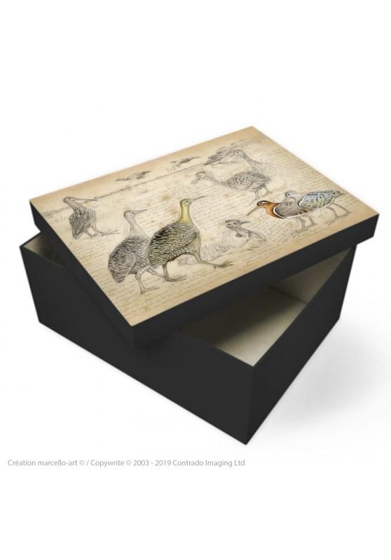 Marcello-art : Accessoires de décoration Boîte à souvenirs 240 Tinamous et Bécassines rhynchée