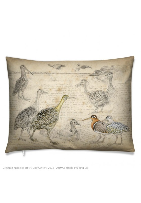 Marcello-art: Fashion accessory Cushion 240 Tinamou & Snipe