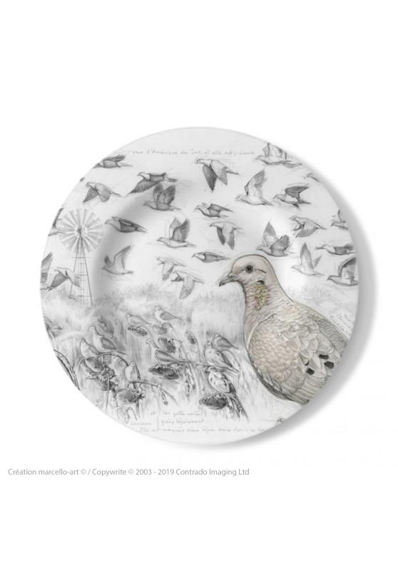 Marcello-art : Assiettes de décoration Assiette décorative 231 Tourterelle oreillarde