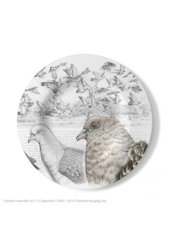 Marcello-art : Assiettes de décoration Assiette décorative 232 Pigeon tigré