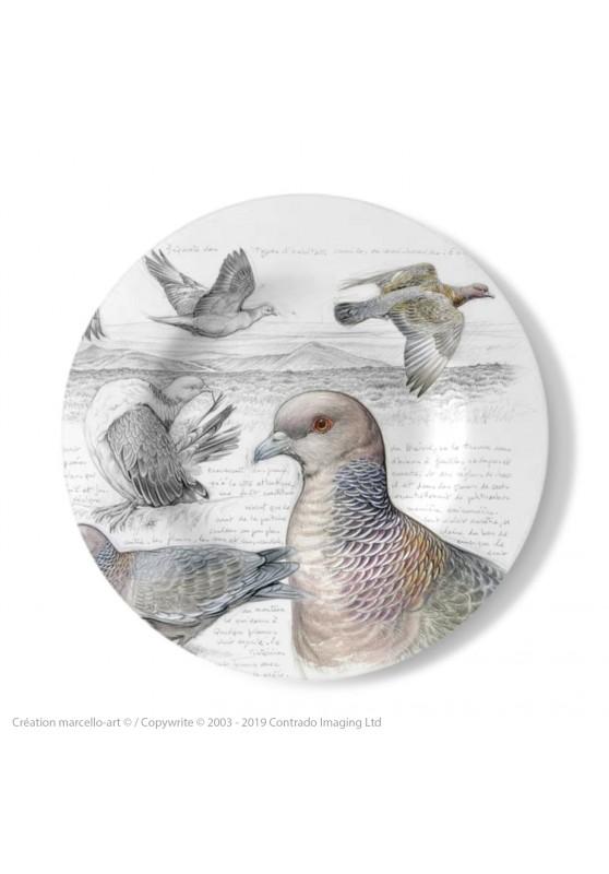 Marcello-art : Assiettes de décoration Assiette décorative 233 Pigeon picazuro