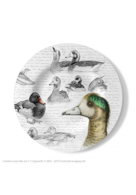 Marcello-art : Assiettes de décoration Assiette décorative 236 Canard Siffleur du Chili et Nette demi deuil