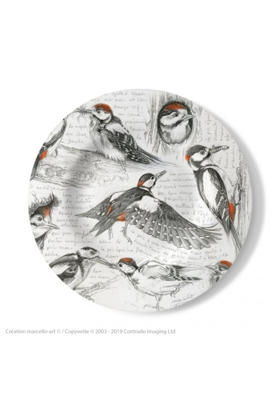 Marcello-art: Decorating Plates Decoration plates 327 Great Spotted Woodpecker