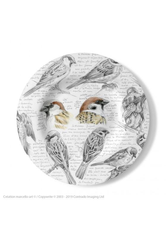Marcello-art : Assiettes de décoration Assiette décorative 333 Moineau domestique