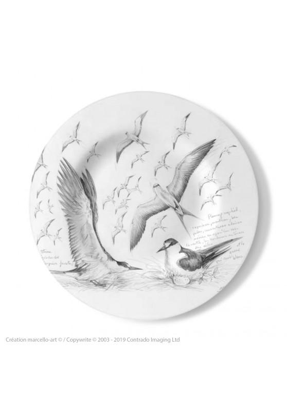 Marcello-art : Assiettes de décoration Assiette décorative 337 Sternes fuligineuses