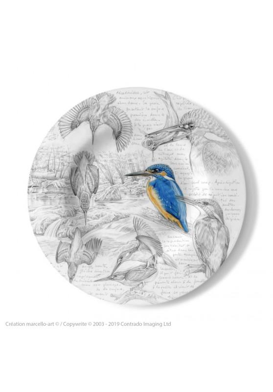 Marcello-art : Assiettes de décoration Assiette décorative 399 Alcedo atthis