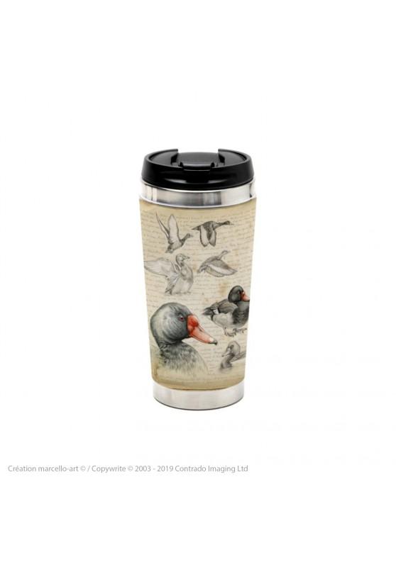 Marcello-art : Accessoires de décoration Mug thermos 236 Canard Siffleur du Chili et Nette demi deuil
