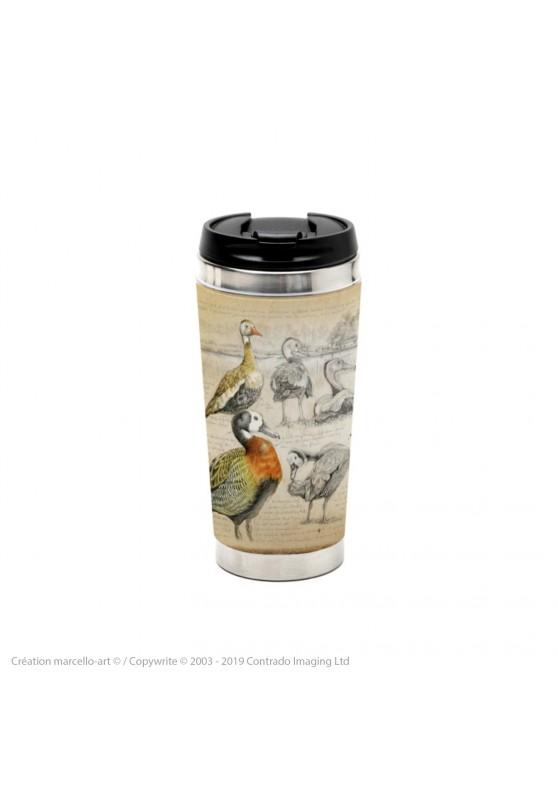 Marcello-art : Accessoires de décoration Mug thermos 237 Dendrocygnes ventre noir, veuf et fauve