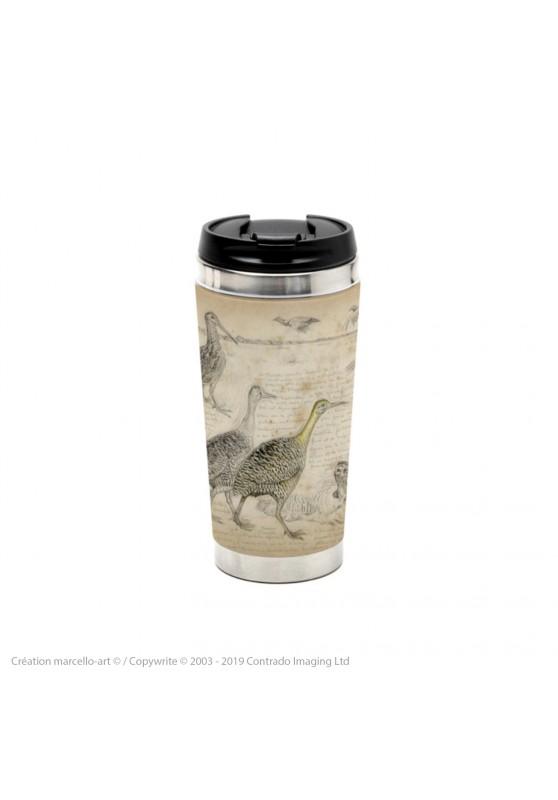Marcello-art : Accessoires de décoration Mug thermos 240 Tinamous et Bécassines rhynchée