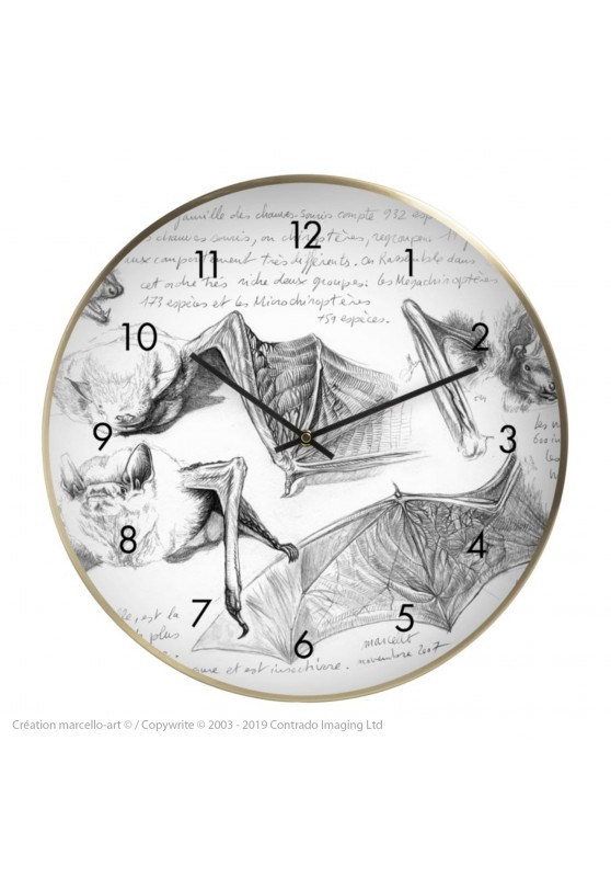 Marcello-art : Accessoires de décoration Horloge murale 31 Pipistrelle blanche