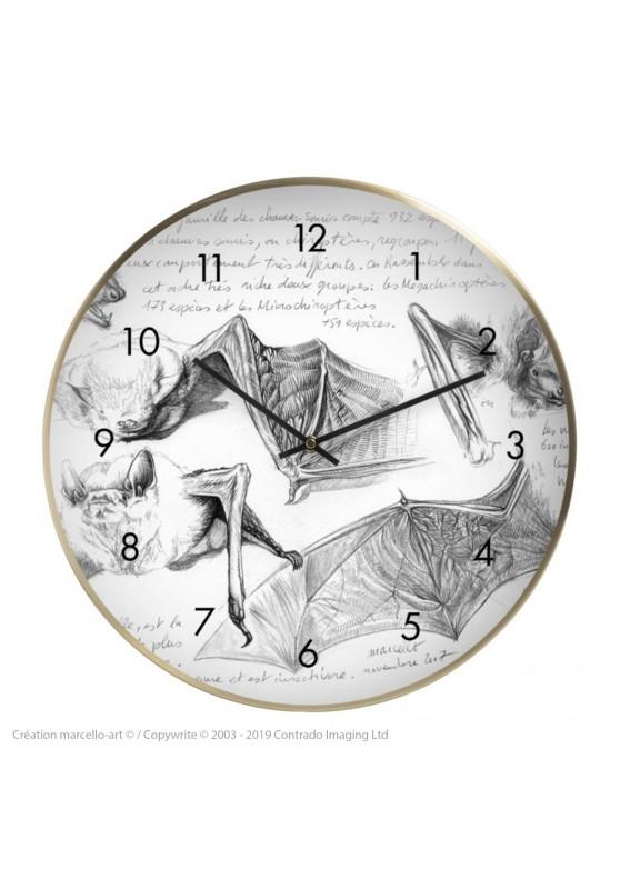 Marcello-art: Decoration accessoiries Wall clock 31 Pipistrelle white