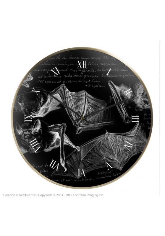 Marcello-art : Accessoires de décoration Horloge murale 31 Pipistrelle noire