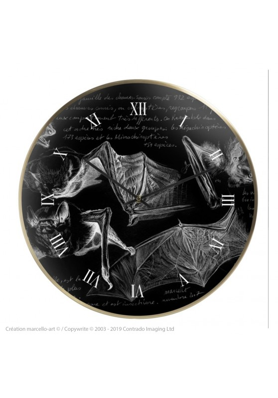 Marcello-art: Decoration accessoiries Wall clock 31 Pipistrelle black
