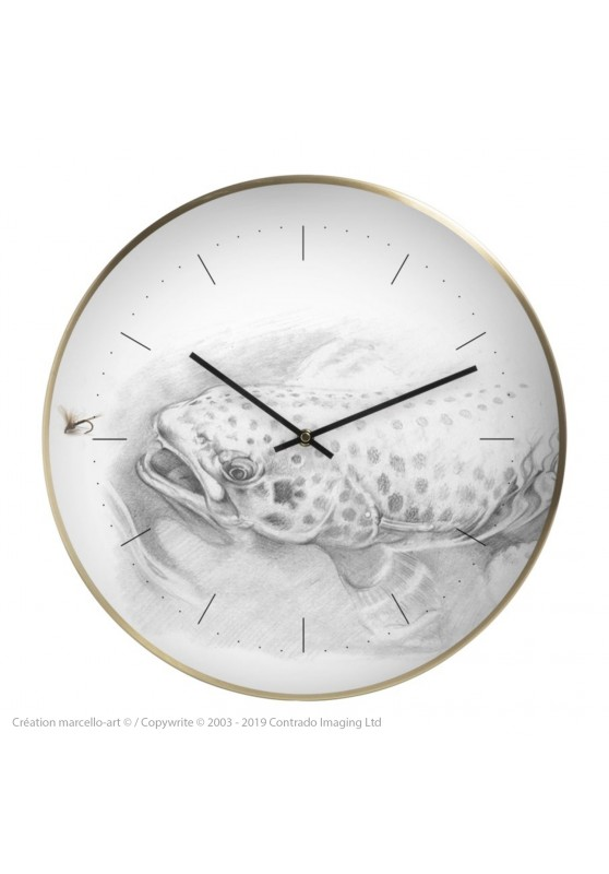 Marcello-art: Decoration accessoiries Wall clock 46 Trout of the Gaves