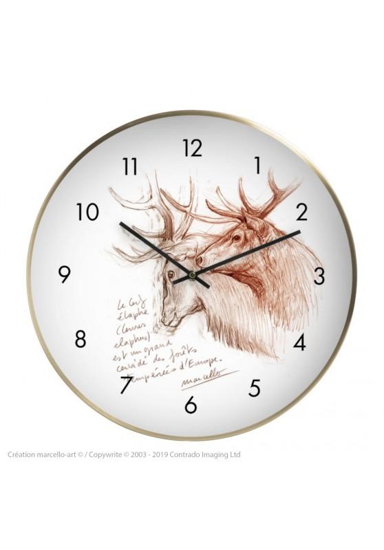 Marcello-art : Accessoires de décoration Horloge murale 52 Cerf elaphe