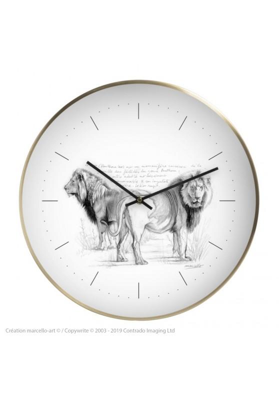 Marcello-art : Accessoires de décoration Horloge murale 54 Frères lions